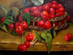 Cherry Fruit, All Art, Healthy Recipes, Healthy Food, Art Gallery, Vegetables, Artwork, Cherries, Oil Paintings