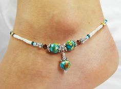 Anklet Ankle Bracelet Mosaic Turquoise Dangle by ABeadApartJewelry, $15.25