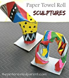 Paper towel roll sculptures. Twist bend and fold cardboard tubes to make simple structures and paint. Arts and crafts for kids....