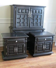 black painted furniture, this is how you make those clunky, old 70's- 80's yard sale finds work for you today!!