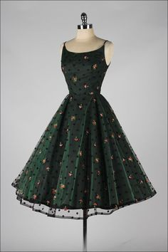 Vintage 1950's Jonny Herbert Green Tulle Embroidered Dress | From a collection of rare vintage evening dresses at http://www.1stdibs.com/fashion/clothing/evening-dresses/
