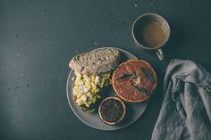 a daily something: Recipe   Breakfast Toast with Scrambled Eggs, Sautéed Leeks, Taylor Ham, & Feta Cheese