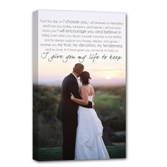 beautiful wedding photo with wording over it on canvas wall art