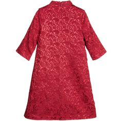 Girls red, dress by Love Made Love. Made from a soft textured, cotton blend jacquard with a pretty shimmery paisley pattern and a smooth cotton lining. In an A-line style with sleeves to the elbows and a mandarin collar, fastening with a concealed back zip. It has decorative diamanté buttons on one shoulder and a stunning rose in red, silver and gold diamanté on the front.  Model: Height 122cm (average 7 year) Size of dress shown in the photo: 6-7 years