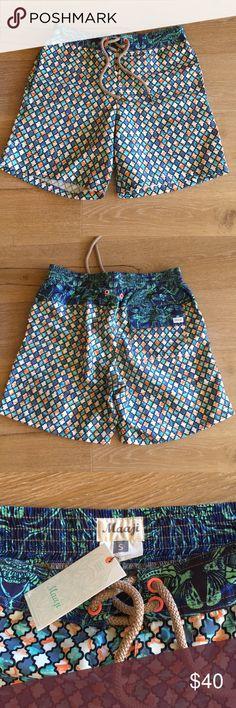 NWT Men's Maaji shirt swim trunks 🏝 NWT Men's Maaji short swim trunks 🏝 soft material that is water wicking. Fun colors. See size guide for size information. Maaji Swim Swim Trunks