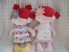 little red haired sisters sewn by me using a pattern from a bit of whimsy