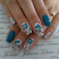 Flower Nail Designs, Acrylic Nail Designs, Nail Art Designs, Acrylic Nails, Beautiful Nail Designs, Beautiful Nail Art, Beautiful Pictures, Stylish Nails, Trendy Nails
