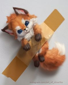 Banana fox by on DeviantArt Baby Animals Super Cute, Cute Little Animals, Cute Fantasy Creatures, Cute Creatures, Cute Cartoon Animals, Anime Animals, Cartoon Art, Baby Animal Drawings, Cute Drawings