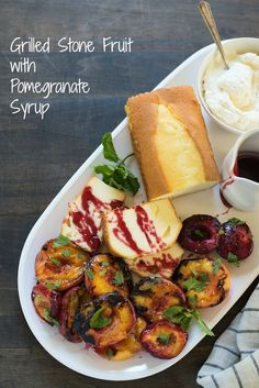 Grilled Stone Fruit with Pomengranate Syrup - Put together this lovely summer dessert platter, and let your party guests serve themselves! Fruit Recipes, Vegan Recipes, Dessert Recipes, Easy Recipes, Grill Stone, Dessert Platter, Good Food, Yummy Food, Seafood Salad