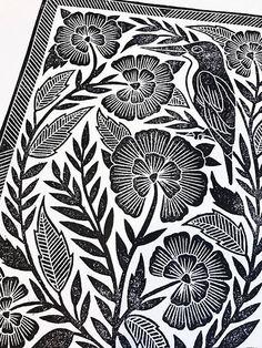 Eine ursprüngliche Linoleum Block print von Katharine Watson. Aus einem handgeschnitzten Block auf dicken Büttenpapier gedruckt. Das Papier misst ungefähr 12 Zoll durch 18 Zoll. Der Druck misst 8,5 x 11,5 Zoll. Bedruckt mit ölhaltigen Tinte auf dicke, weiße Bütten mit deckled
