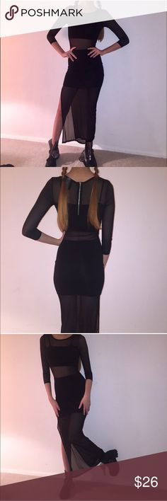 Black cutout dress  Chic Black color block sheer H&M sheer slit dress. Includes shipping  Never worn!✨ Zips in the back. goth girl dream piece, floor length and three quarter sleeves.  #hm #mesh #sheer Dresses Maxi