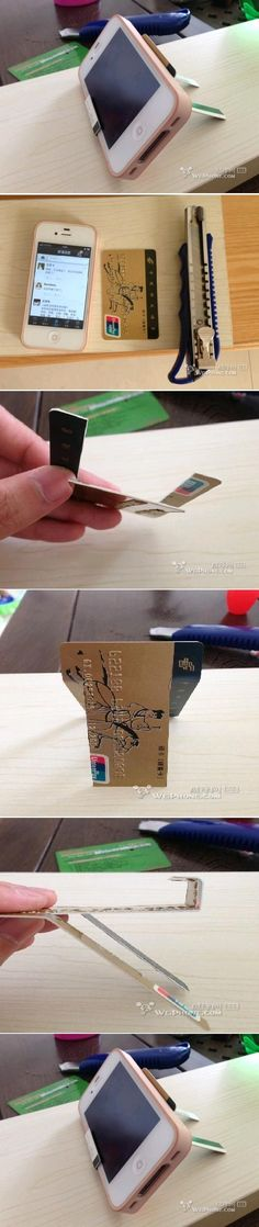 DIY Credit Card iPhone Stand