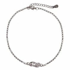 Sterling Silver and CZ Yin Yang Anklet Eve's Addiction. $28.00. Metal Finish: Sterling Silver. Approximate Weight: 2.7 grams. TCW: .33 carats