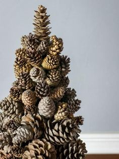 Add some rustic charm to your holiday decor with this pine cone tree.