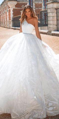 18 Princess Wedding Dresses For Fairy Tale Celebration ❤ ball gown lace one shoulder princess wedding dresses milla nova ❤ Full gallery: https://weddingdressesguide.com/princess-wedding-dresses/ #bride #wedding #bridalgown