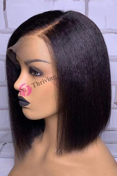 Thriving Hair Neoteric Side Parting Kinky Straight Bob Virgin Human Hair Full Lace Wigs For Black Women – Neauty ideas Frontal Hairstyles, Bob Hairstyles, Straight Hairstyles, Rihanna Hairstyles, Pixie Haircuts, African Hairstyles, Black Hairstyles, Curly Lace Front Wigs, Lace Wigs