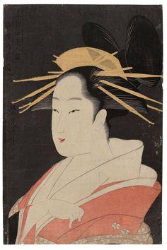 鳥高斎栄昌: Hanaôgi of the Ôgiya, from the series Contest of Beauties of the Pleasure Quarters (Kakuchû bijin kurabe) - ボストン美術館