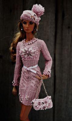 FashionDoll...Lovely Pink Sweater Set..Elizaveta Chemeris