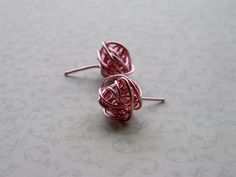 Rose Gold Knot Earrings Wire Wrapped Stud Earrings by Meant2Bead, $14.00