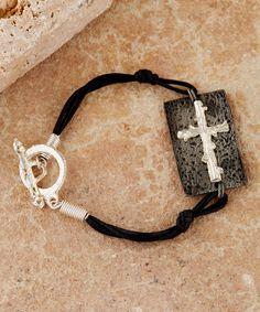 Silver & Antique Silver Sideways cross Bracelet