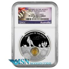 2014-P Australia 1 oz .999 Silver Kangaroo Treasures of the World ER PF 69 UC   This stunning Australian 1 ounce silver $1 features 0.2g of loose gold granules encased in a transparent circular locket. This is the second coin in the Treasures of the World series of coins showcasing the abundance of natural riches found across the globe. This coin celebrates the abundance of gold in Australia. SOLD OUT! see more similar at www.isnmoderncoins.com/33757