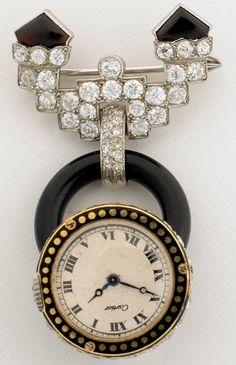 CARTIER ART DECO DIAMOND LAPEL PIN WATCH!