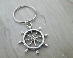 Ship's Wheel Keychain, Rudder Keychain, Party Favors, Wedding Favors, Key Chains