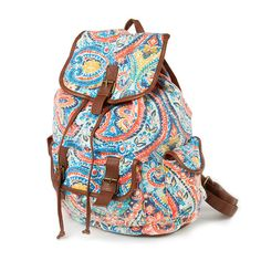 Multi-Color Paisley Print Canvas Backpack   Claire's