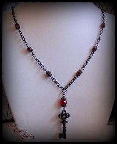 CRIMSON KEY Gothic Victorian Ruby Czech Glass & Black Chain Necklace by Blood Flowers