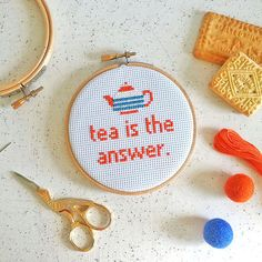 "Is tea the answer to your daily dilemmas? This modern cross stitch craft kit is perfect for tea lovers! This kit uses a midi sized 4"" wooden embroidery hoop and full and simple instructions to cross stitch the Tea is the Answer slogan in a vibrant orange"