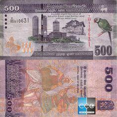 Sri Lanka Ceylon 500 rupee bank note, asian money, circulated, used money