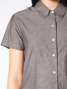 $48 Chambray Round Collar Short Sleeve  Button-Up | Short Sleeves | Women's Collared Shirts | American Apparel