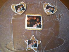 Galletas con formas y fotos comestibles para un Aniversario de Boda!!