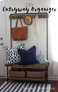 Industrial Wood and Pipe Entryway Organizer