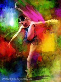 Colorful Ballet Oil Painting - Pixdaus
