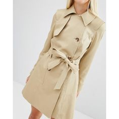 ASOS Classic Trench Coat ($41) ❤ liked on Polyvore featuring outerwear, coats, tall coats, double breasted coat, trench coat, double-breasted trench coats and tall trench coat