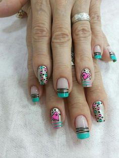 Lindo Hot Nails, Hair And Nails, Fancy Nails, Pretty Nails, Iris Nails, Fingernails Painted, Uñas Fashion, Valentine Nail Art, Diy Nail Designs