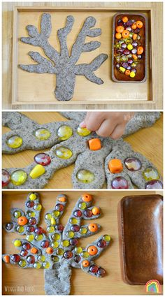 Create an Autumn Tree with play dough and loose parts Wings and Roots art eyfs Autumn Activities, Toddler Activities, Preschool Activities, Reggio Emilia, Funky Fingers, Tree Study, Fall Preschool, Autumn Theme, Fine Motor
