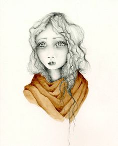 Art Original Drawing OOAK Original Pencil Art Illustration Dark Brown Coffee Staining Melancholy Portrait of a Girl Drawing of a Girl