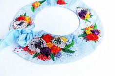 OOak Hand embroidered textile fabric elegant by BohemianSinShop Textile Fabrics, Textile Art, Bohemian Flowers, Linen Fabric, My Design, Romance, Velvet, Etsy Shop, Sky