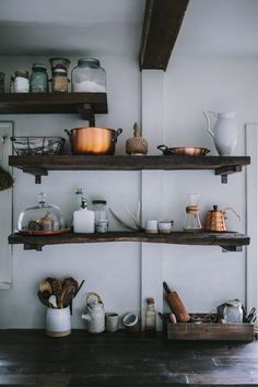 Before and After: A Modern Rustic Kitchen Makeover - Rustic kitchen storage Rustic Kitchen, Kitchen Dining, Kitchen Decor, Open Kitchen, Kitchen Pantry, Rustic Cafe, Rustic Logo, Organized Kitchen, Kitchen Rack