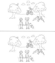 Trouve les 5 différences entre les 2 dessins! Téléchargez et imprimez le jeu.  #enfant #jeux