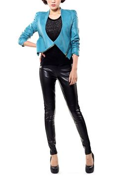 Skinny leggings crafted in PU, featuring a low rise elasticated waistband, contrast side panel detail, stitching to the main, in a glossy and stretch finish. $95