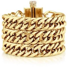 Chunky Chain Bracelet (215 BRL) ❤ liked on Polyvore featuring jewelry, bracelets, accessories, pulseiras, pulseras, gold, vintage bangles, vintage jewellery, stainless steel jewellery and juicy couture jewelry