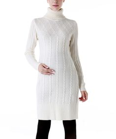 Look at this MOMO Ivory Erica Wool-Blend Maternity Sweater Dress on #zulily today!