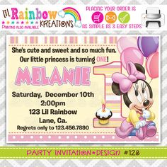 128 DIY Baby Minnie Mouse Party Invitation Or by LilRbwKreations