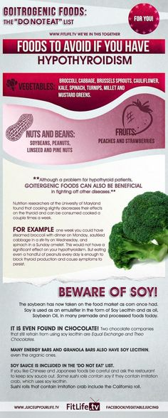 Foods To Avoid If You Have Hypothyroidism (Infographic) ... Not sure if all of this applies to people without a thyroid taking synthroid but I do know the soy part does! The soy blocks the body's ability to absorb the thyroid medication (aka very bad)
