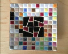 1960s colorful tiled square bowl