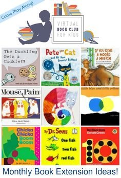 Monthly Book Extension Ideas from the Virtual Book Club for Kids on Lalymom.com. So many great books, how fun!