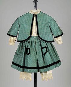 Little girl's dress Ensemble Date: 1865–70 Culture: American Medium: Wool, cotton, silk